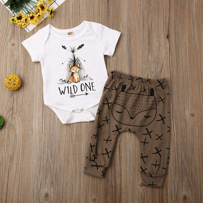 "2PCS ""Wild One"" Cute Fox Printed Baby Set"
