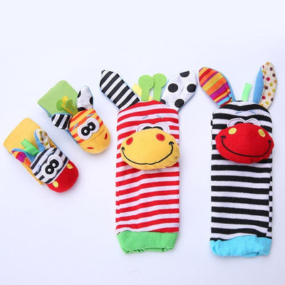 4 pcs Cute Animal Soft Baby Wrist Rattles and Foot Finders