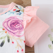 2PCS Lovely Floral Printed Baby Jumpsuit