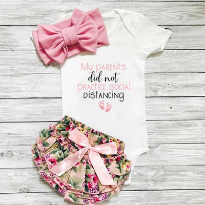 "3PCS ""My Parents Did Not Practice Social Distancing"" Letter Printed Romper with Floral Printed Skirt Baby Girl Set"