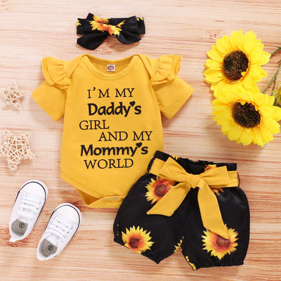 """I'm My Daddy's girl mommy's world"" Sunflower Short Baby Set"