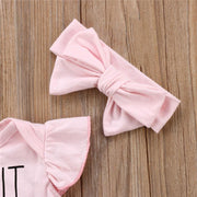 Ruffle Bodysuit Bow Headband 2pc Romper