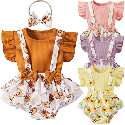 3PCS Lovely Solid Floral Printed Baby Set