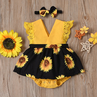 2PCS Lovely Sunflower Printed Romper