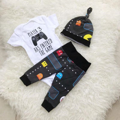 "3PCS ""Player 3 Has Entered The Game"" Funny Baby Set"