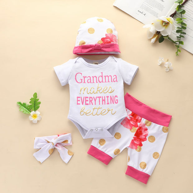 4PCS Lovely Letter And Floral Printed Baby Girl Set