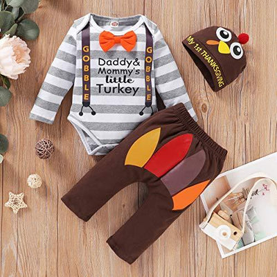 """DADDY&MOMMY'S LITTLE TURKEY"" Letter Printed Romper With Pants Baby Set"