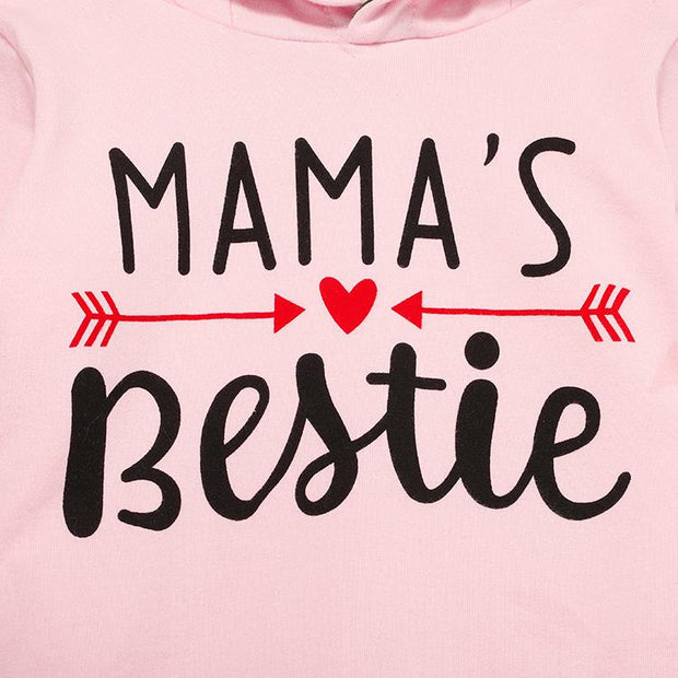 "2PCS ""MAMA'S BESTIE"" Letter Printed Hoodie with Camouflage Pants Baby Set"