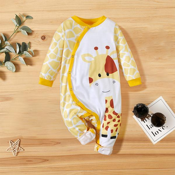 Baby Unisex Sweet Giraffe Printed Long Sleeve Baby Jumpsuit