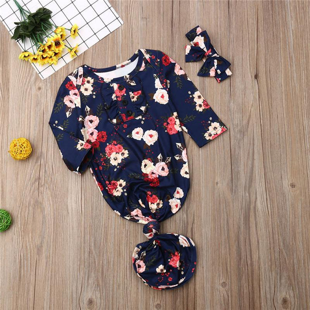 2PCS Lovely Floral Printed NewBorn Baby Sleeping Bag