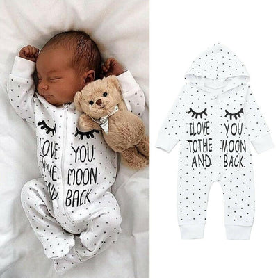 """I Love You To The Moon And Back""Stars Printed Baby Jumpsuit"