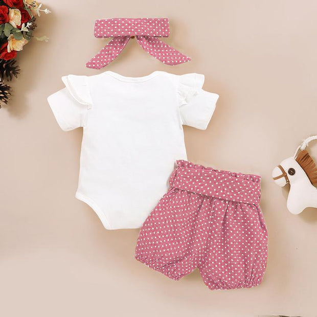 3PCS Isn't She Lovely Polka Dot Printed Baby Set