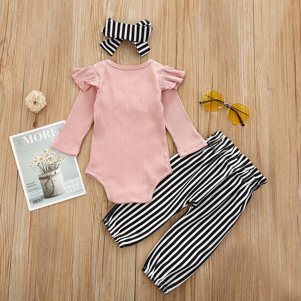 Baby Girl Soild Printed Fly Sleeve Romper With Stripe Pants Baby Set