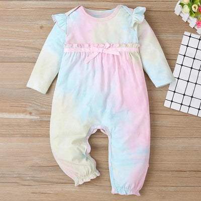 Lovely Baby Girl Tie-dye Printed Frill Bow Long-sleeve Baby Jumpsuit