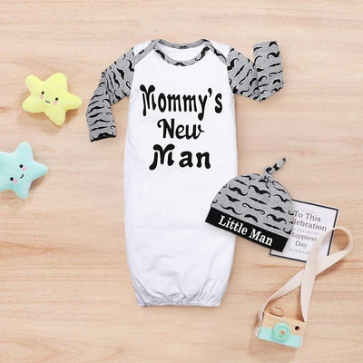 "2PCS Lovely Newborn Baby Boy ""Mommy's New Man"" Letter Moustache Printed Long Sleeve Sleeping Bag With Hat"