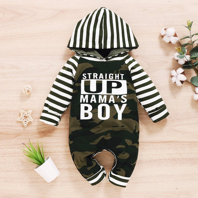 """STRAIGHT UP MAMA'S BOY""Cool Camouflage Stripe Printed Hoodie Baby Boy Jumpsuit"