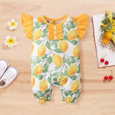 Lovely Full Lemon Printed Baby Romper