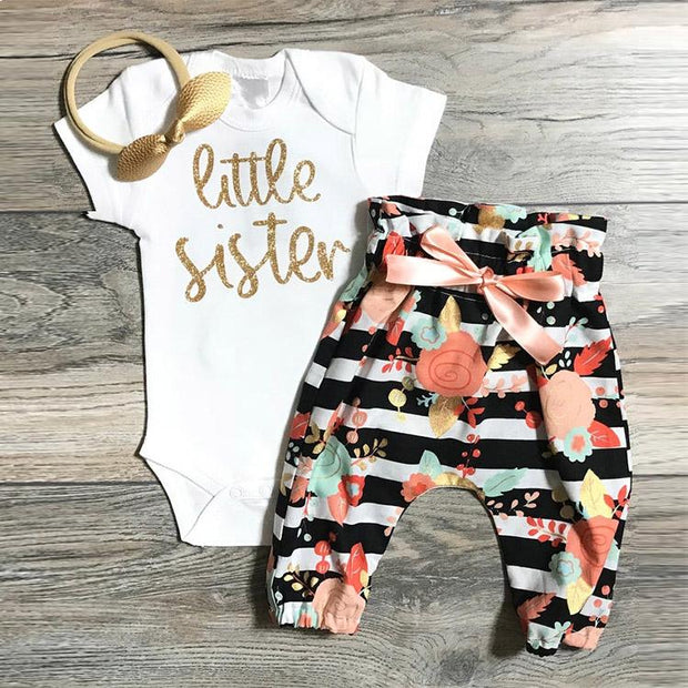 3PCS Little Sister Floral Printed Baby Set