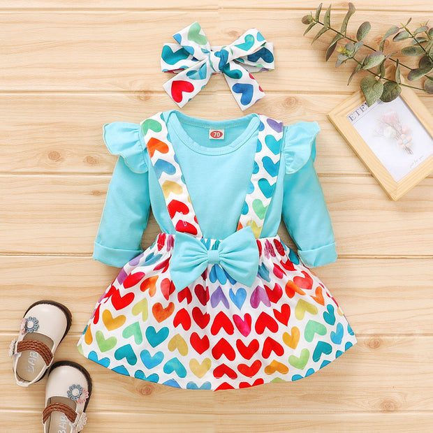 3PCS Sweet Heart-shaped Printed Baby Set