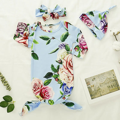 NewBorn Floral Print Pajamas and Headband