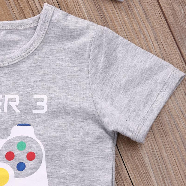 "2PCS Baby Unisex ""Player3 Has Entered The Game"" Game Machine Printed Romper"