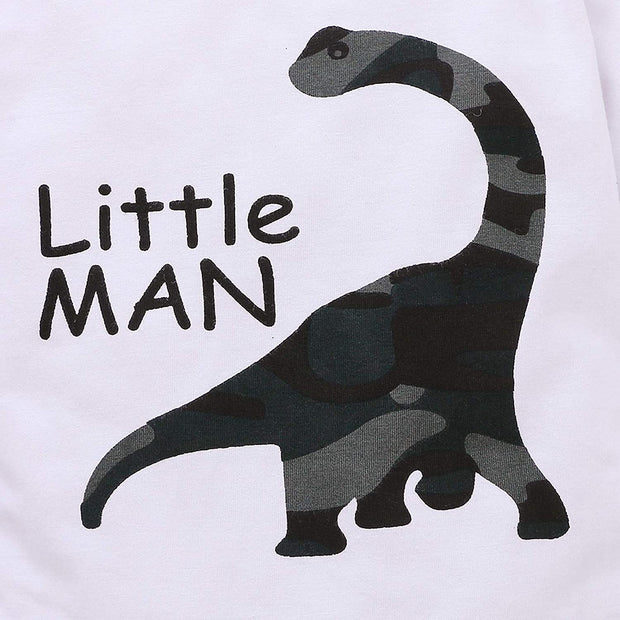 "3PCS ""Little Man"" Cool Dinosaur Camouflage Printed Baby Set"