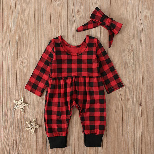 2PCS Lovely Baby Plaid Printed Long Sleeve Jumpsuit