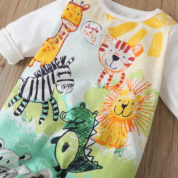 Lively Colored Pencil Animals Printed Baby Jumpsuit
