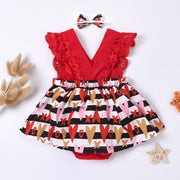 2PCS Pretty Heart-shaped Printed Baby Romper