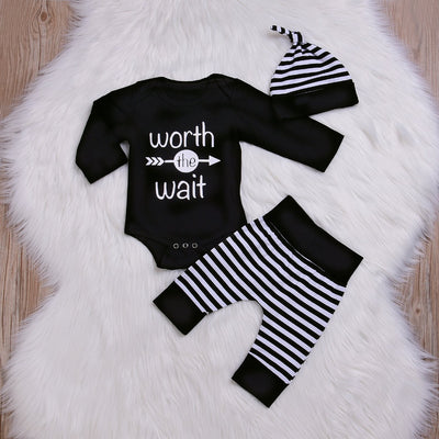 "3PCS Cool ""World The Wait"" Striped Printed Baby Boy Set"