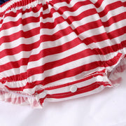 2PCS Cute Striped Printed Baby Romper