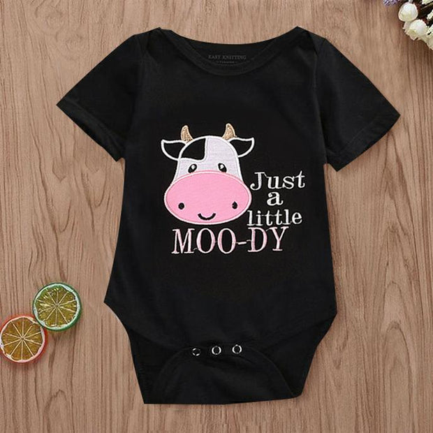 Just A Little MOO-DY Cow Printed Baby Romper