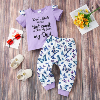 2PCS Cute Letter And Butterfly Printed Baby Set