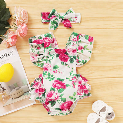 2PCS Lovely Floral Printed Baby Girl Romper
