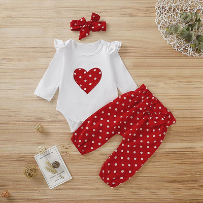 3PCS Newborn Baby Girl Heart-shaped Printed Long Sleeve Romper With Red Polka Dot Pants Set