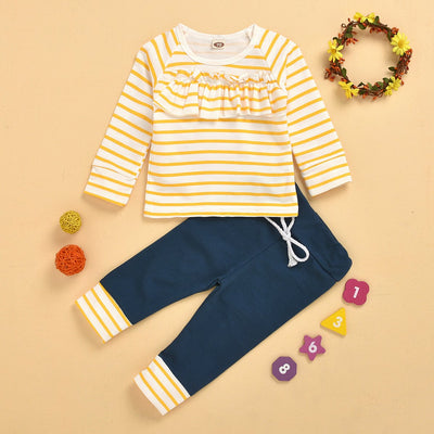 2PCS Baby Girl Round Collar Lace Stripe Printed Top With Lace-up Pants Baby Set