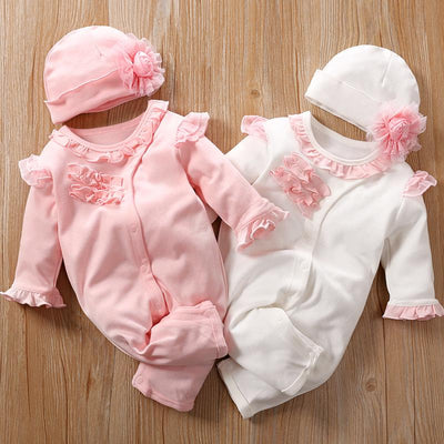 2PCS Lovely Fold Edge Solid Printed Long-sleeve Baby Jumpsuit With Hat