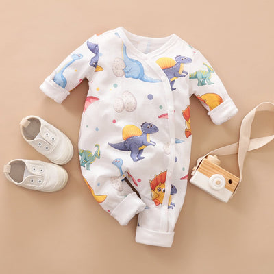 Newborn Baby Lovely Cartoon Mother Dinosaur Printed Long-sleeve Jumpsuit