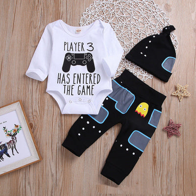 "3PCS ""Player 3 Has Entered The Game"" Letter Printed Romper with Pants Baby Set"