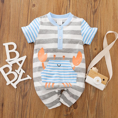 Lovely Crab Printed Baby Romper