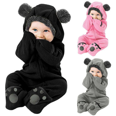 Newborn Baby Boy Girl Solid Color Cartoon 3D Bear Ear Long Sleeve Velvet Hoodie Jumpsuit
