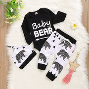 "3PCS Baby Boy ""Baby Bear"" Letter Printed Romper With Full Bear Printed Pants Baby Set"
