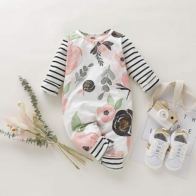 Baby Girl Adorable Floral Print Jumpsuit