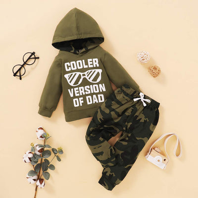 "2PCS ""COOLER VERSION OF DAD"" Letter Printed Hoodie with Camo Pants Baby Set"