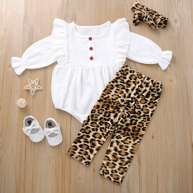 3PCS Solid Color Leopard Printed Baby Girl Set