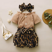 3PCS Solid Color Leopard Printed Baby Set