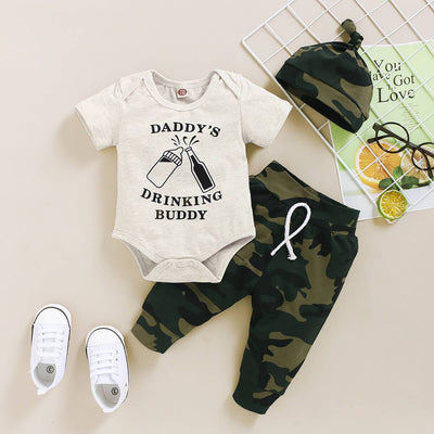 "3PCS ""Daddy's Drinking Buddy"" Camouflage Printed Baby Set"