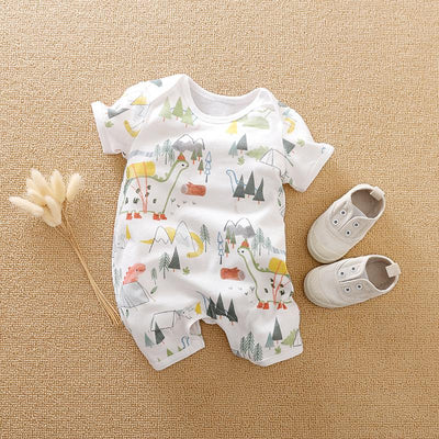 Cartoon Dinosaur Printed Baby Romper