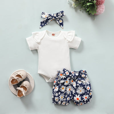 3PCS Lovely Little Daisy Printed Baby Set