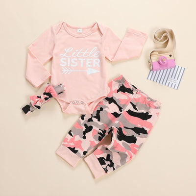 "3PCS ""Little Sister""Lovely Camouflage Printed Baby Girl Set"